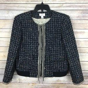 LOFT Sz Medium Blue Brown Tweed Blazer